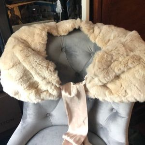 Accessories - Rabbit Fur Shrug Champagne w Satin Lining and Tie